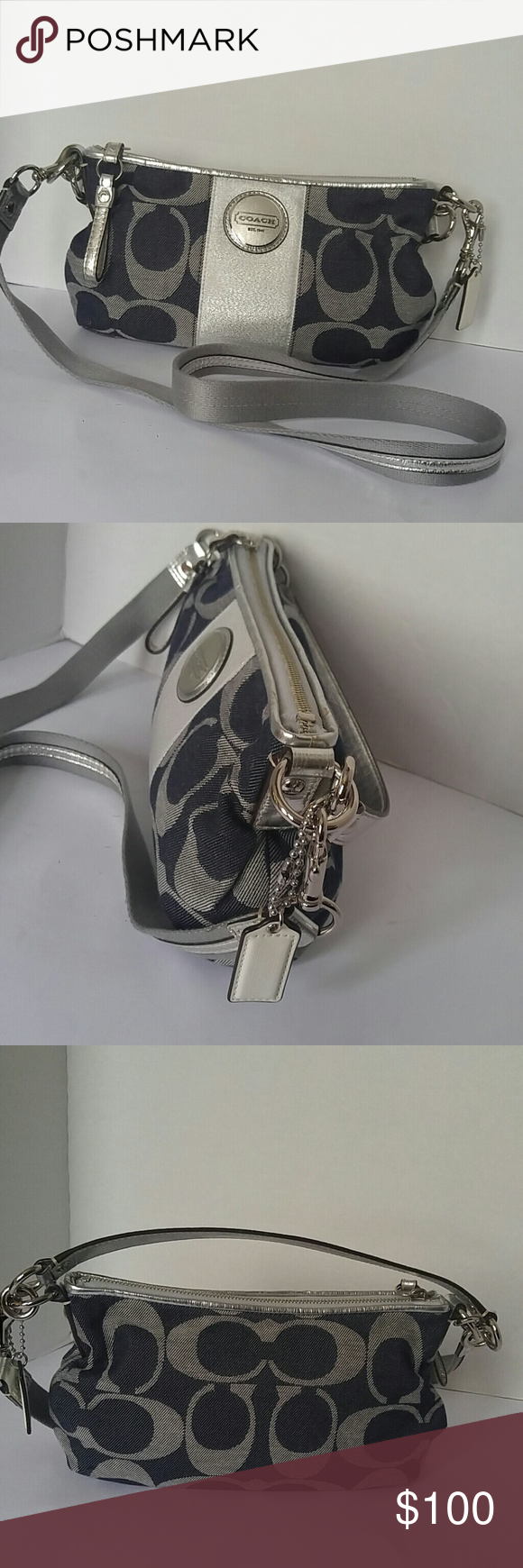 """COACH-AUTHENTIC-Crossbody Retail $ 178.00 Very cute Crossbody with silver accents & hardwear. Blue denium with silver & cream """"c"""" signature. Fob on side of bag. Top zip to main compartment. Interior navy lining, pouch & zip compartment. Bag is clean inside And out. H- Aprox 7 inches. L-Aprox. 12. inches. W- Aprox 4 inches Handle - Aprox 8 inches/ Strap- Aprox 23. inches COACH Bags Crossbody Bags"""