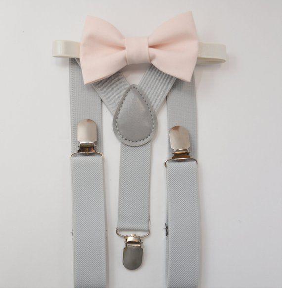 749aad0dec6a Suspenders SET 8months- Adult Kids Mens Baby Boys Pastel Light Gray  Suspenders & PALE blush petal pink bow tie Wedding Groom Page Boy SET