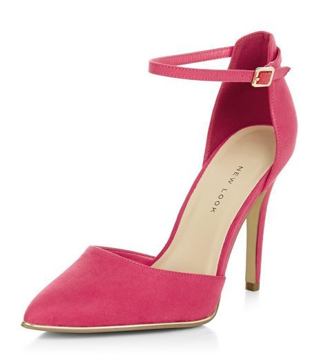 Wide Fit Bright Pink Suedette Ankle Strap Pointed Heels | New Look ...