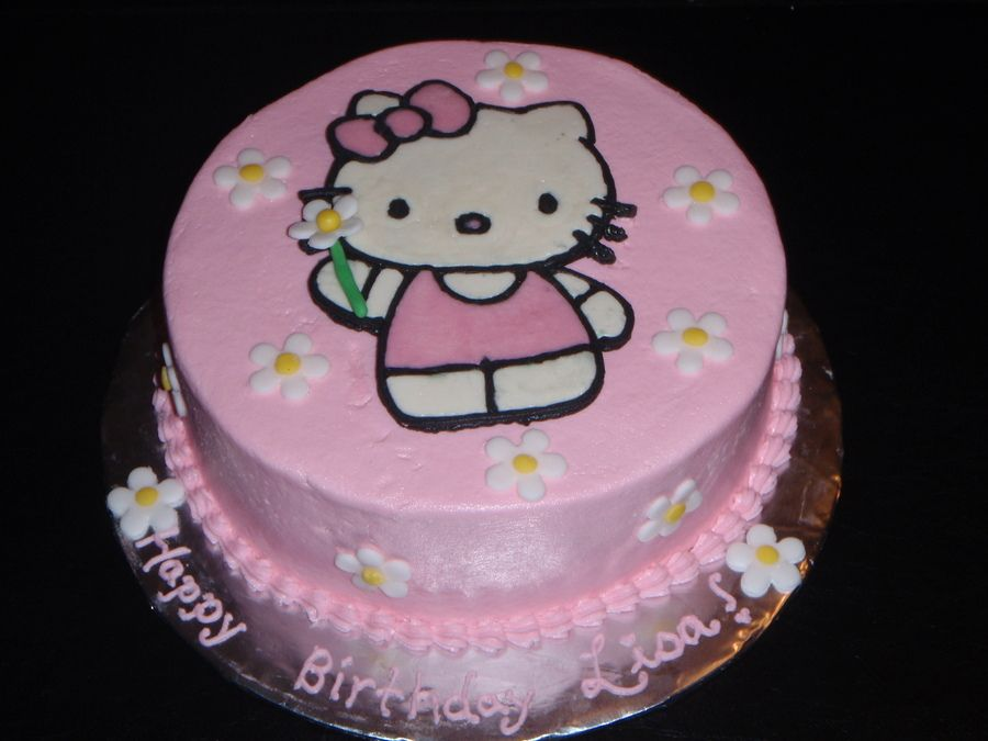 8inch Round Frosted With Buttercream The Hello Kitty Is A Frozen