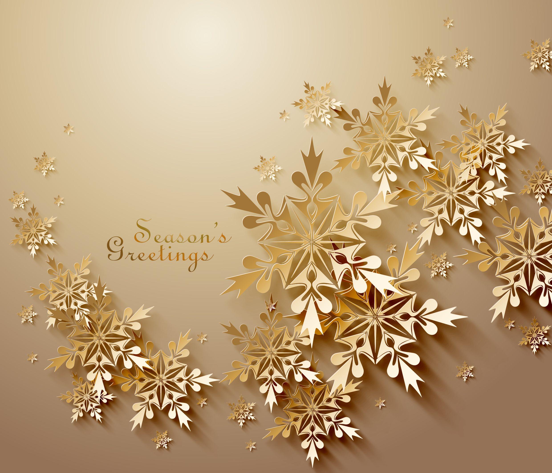 Golden Christmas Greeting Card Snowflakes Vector