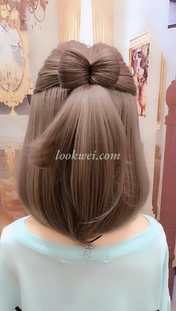 Short Haired Bow Hairstyle Braidedhairstyles In 2020 Short Hair Styles Easy Bow Hairstyle Short Hair Tutorial