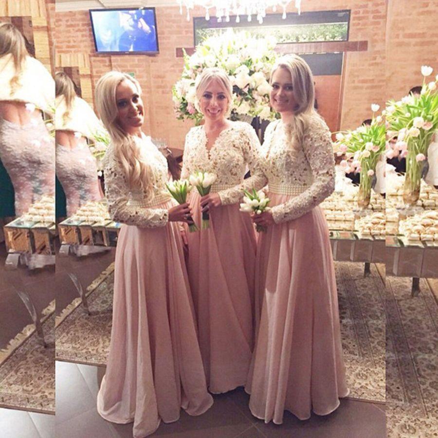 Beautiful pearls lace chiffon bridesmaid dresses pretty light pink