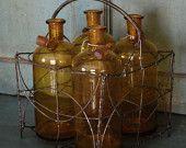 Vintage French Amber Pharmacy Bottle