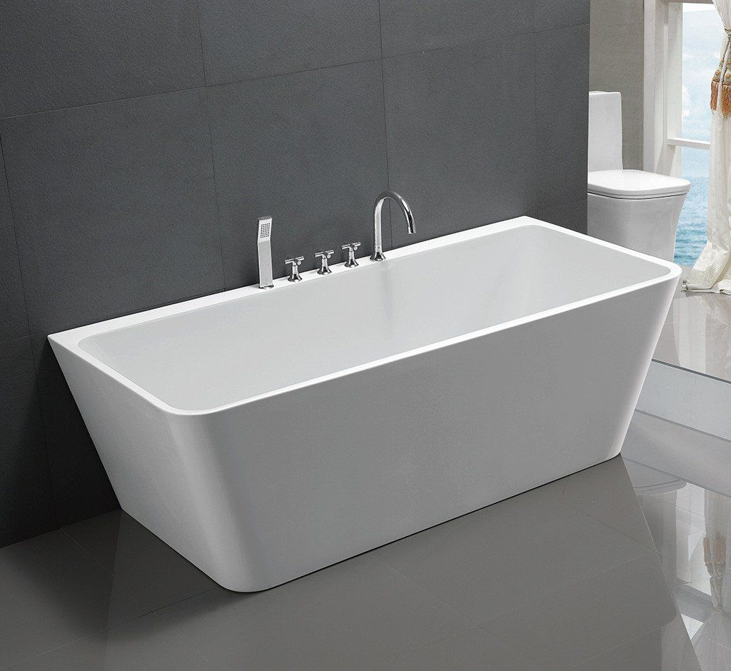 1016 1500 V Shape Back To Wall Freestanding Bath Salle De Bains