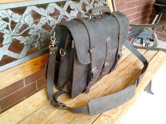 """Leather Laptop Bag Briefcase Satchel Messenger computer tablet  Backpack Large 16"""""""