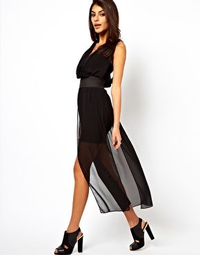 Enlarge ASOS Maxi Dress With Mini Skirt And Deep V Neck