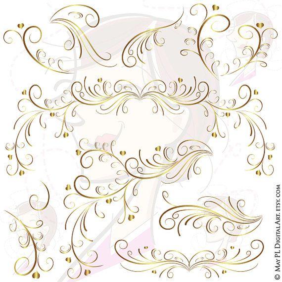 page border gold swirls clipart elegant decorative wedding designs