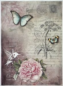 Rosa artesanía Paris Mariposa Papel De Arroz Para Decoupage Scrapbook Hoja