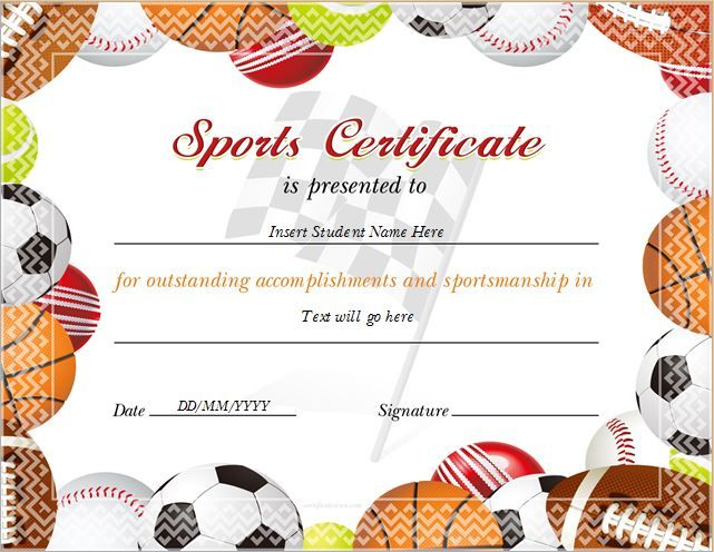 Sports Certificate for MS Word DOWNLOAD at    certificatesinn - picture templates for word