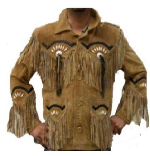QMUK Men/'s Native American Western Leather Jacket Fringe Bones Beads