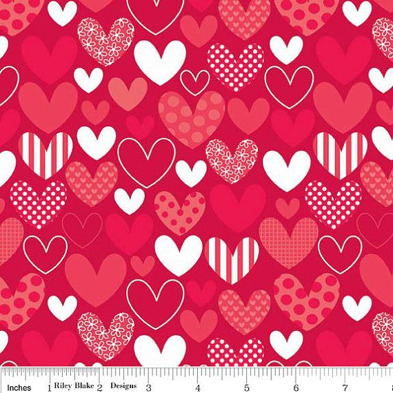 Stripes Hearts, Red by Riley Blake Designs C3761-RED. OakHillFabrics on Etsy. Wonderful fabric ...