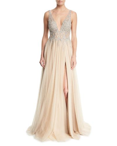 4cf3df2f42a1 JOVANI SLEEVELESS HIGH-SLIT EMBELLISHED BODICE EVENING GOWN. #jovani #cloth  #