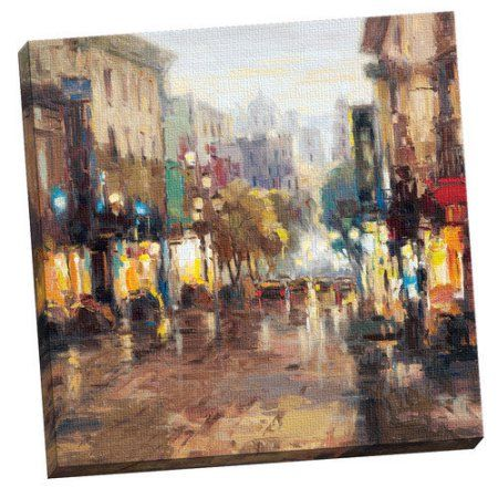 Portfolio Canvas Decor French Quarter Framed and Stretched Canvas Wall Art, 35x35, Size: Large 33 inch-40 inch, Multicolor