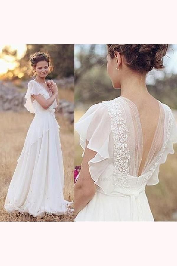 Elegant A Line Ivory Flower Cap Sleeve V Neck Chiffon Open Back Wedding Dresses Uk A Line Weddi Boho Wedding Dress Lace Online Wedding Dress Wedding Dresses Uk
