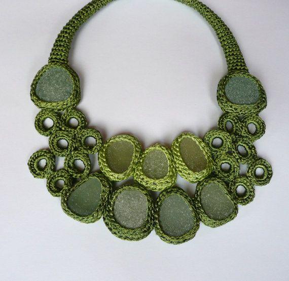 awesome crochet and sea glass jewelery