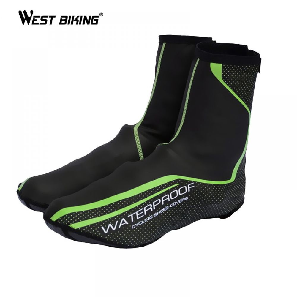 West Biking Smooth Cycling Waterproof Shoe Cover Green Windproof