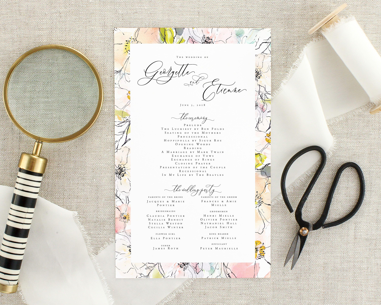 Floral Wedding Program Watercolor Wedding Ceremony Program Printed