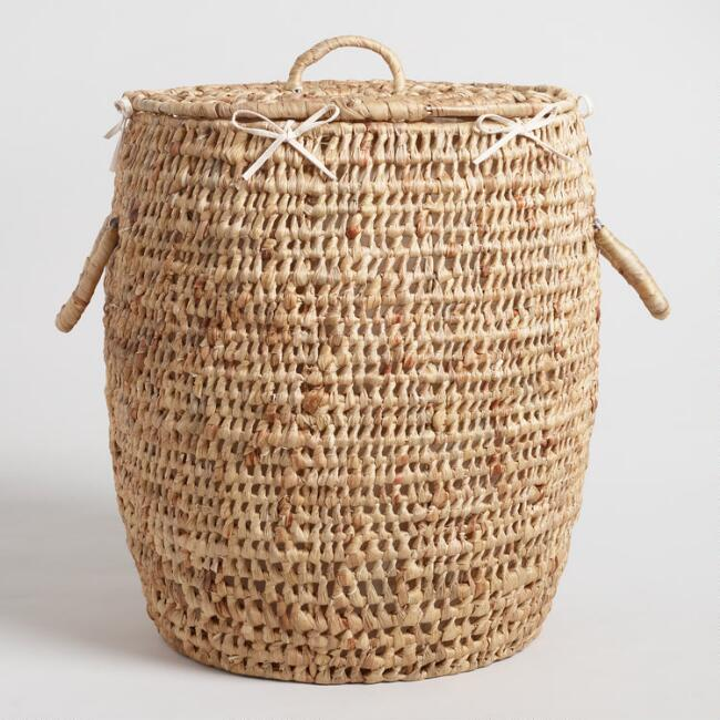 Natural Hyacinth Georgia Laundry Hamper With Lid Laundry Hamper