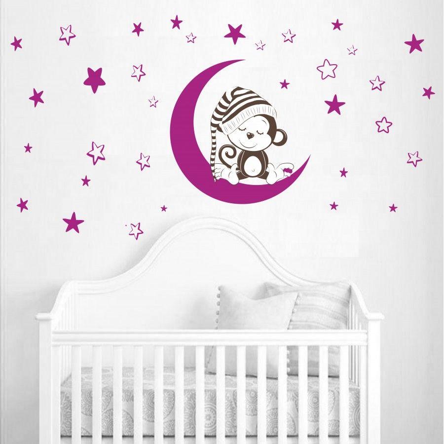 Faszinierend Babyzimmer Wandtattoo Ideen Von Kinderzimmer | Affe Auf Dem Mond Nr-221