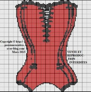 Grille gratuite point de croix lingerie bustier rouge so chics ladies pinterest - Grille points comptes gratuites ...