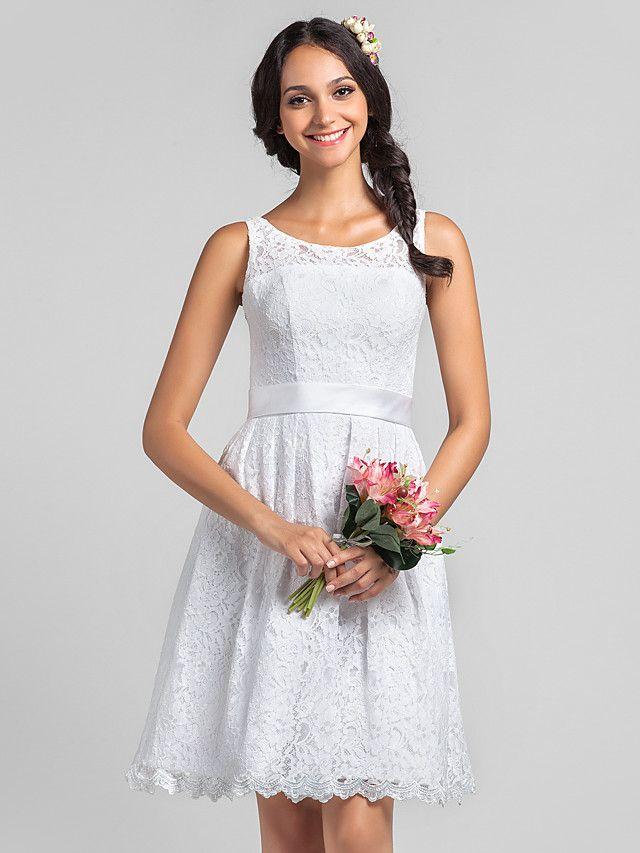 A-Linie U-Ausschnitt Knie-Länge Spitze Brautjungfernkleid mit Spitze ...