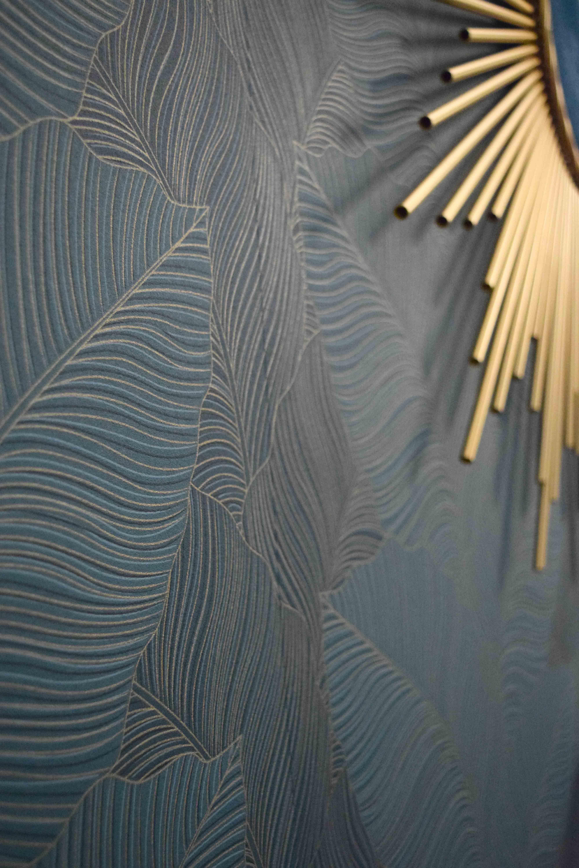 Papier Peint Vinyl Intisse Palme Bleu Vert Dore Tulla Papier