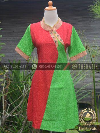 Model Baju Batik Wanita Kombinasi Merah Hijau Emboss Baju Batik