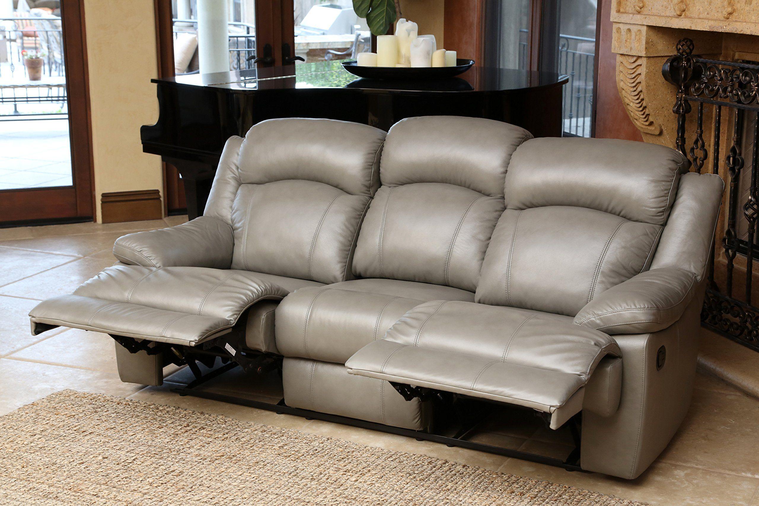 Abbysona 3piece Maverick Top Grain Leather Reclining Sofa