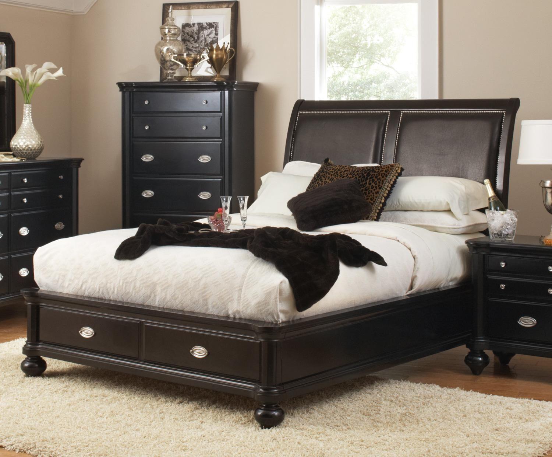 Ckeset valerie collection king or queen pc black bedroom set