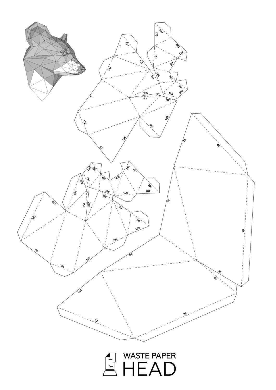 papercraft raccoon head printable diy template by wastepaperhead [ 1060 x 1500 Pixel ]