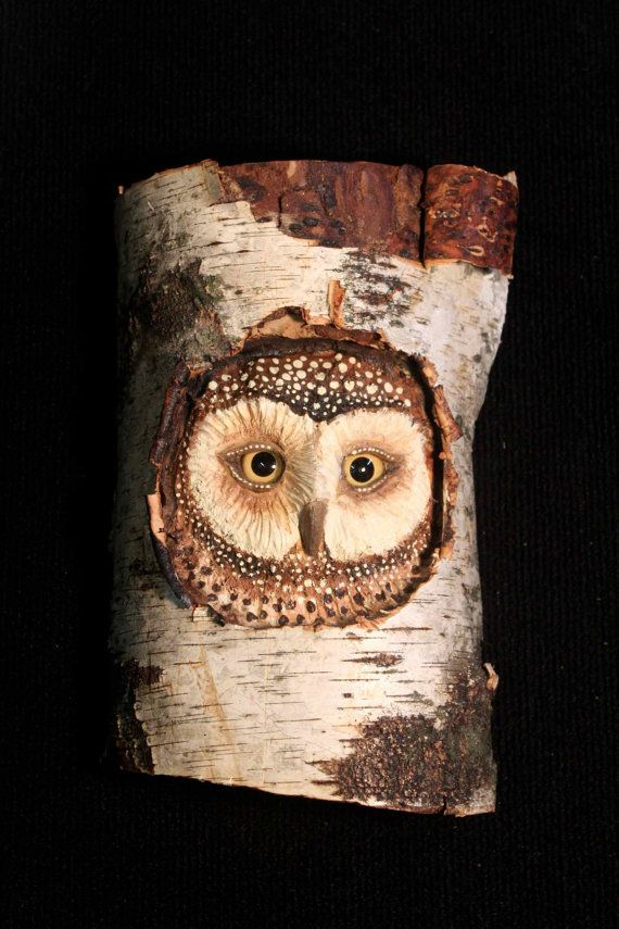 Wildlife Wood Bird Carving Owl Art -    This inquisitive owl peeking from her nest is hand carved and then painted with acrylics. I use glass eyes set with epoxy clay to provide a more realistic touch. I want to give each owl their own personality and hopefully add a bit of whimsy and nature to your home.