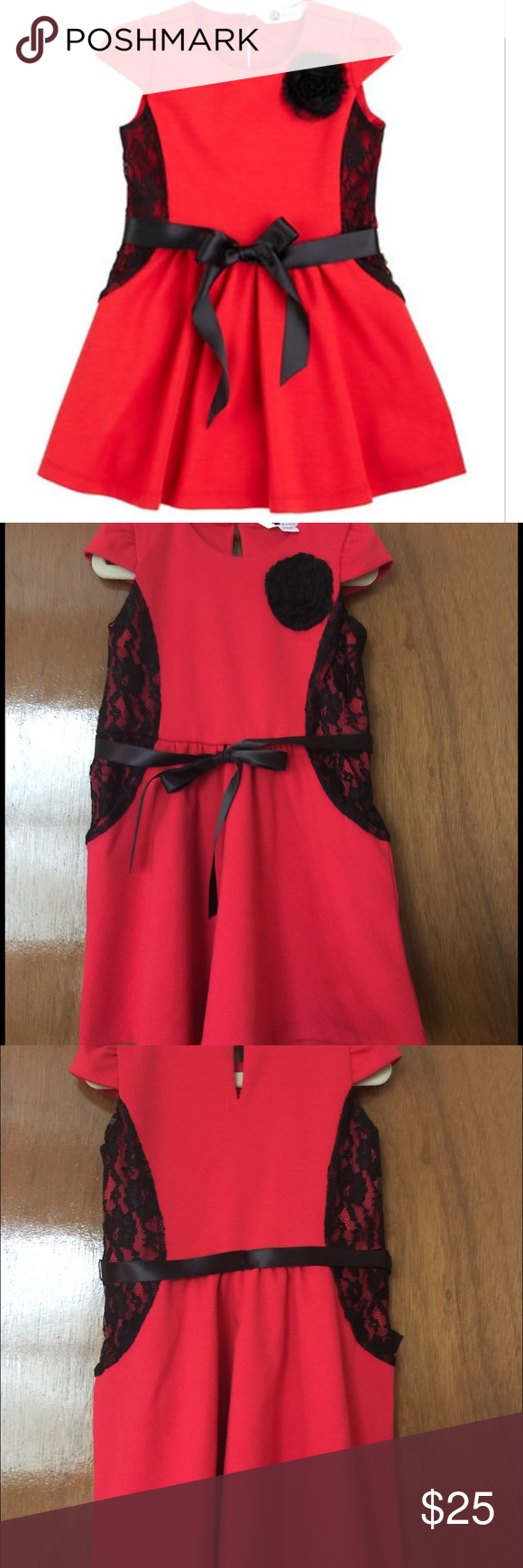 Petit lem toddler girl lace red black dress brand new with tags
