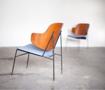 Unis chairs no. 9 and 10 Ib Koford Larsen wrought iron frames in Unis Chambray fabric