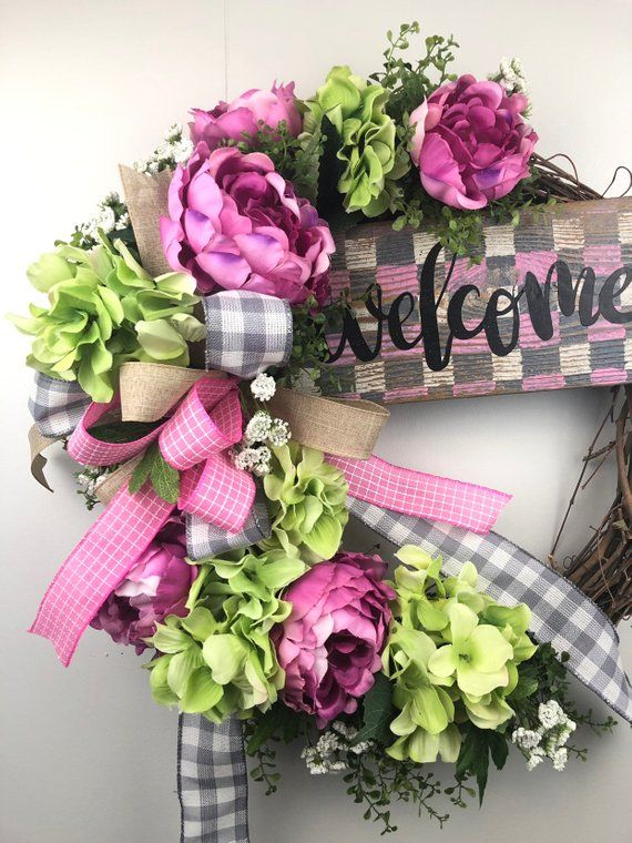 Photo of Hydrangea Wreath, Spring Wreath for Front Door, Peony Wreath, Spring Grapevine Wreath, Spring Wreaths for Outdoors