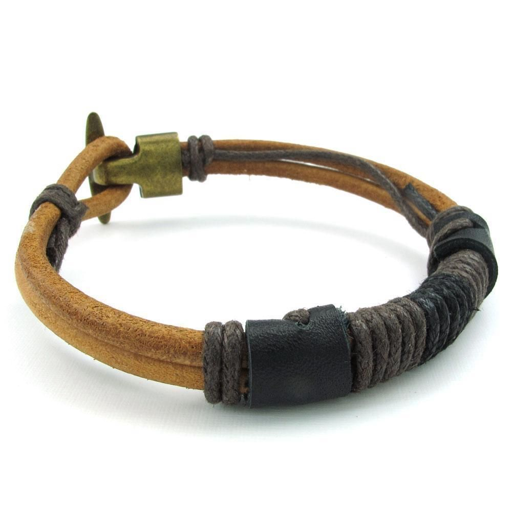 Mens brown black leather rope bracelet tribal braided cuff bangle