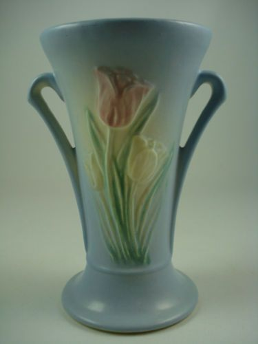 Vintage 40s Hull Pottery Blue Tulip Double Handled Vase