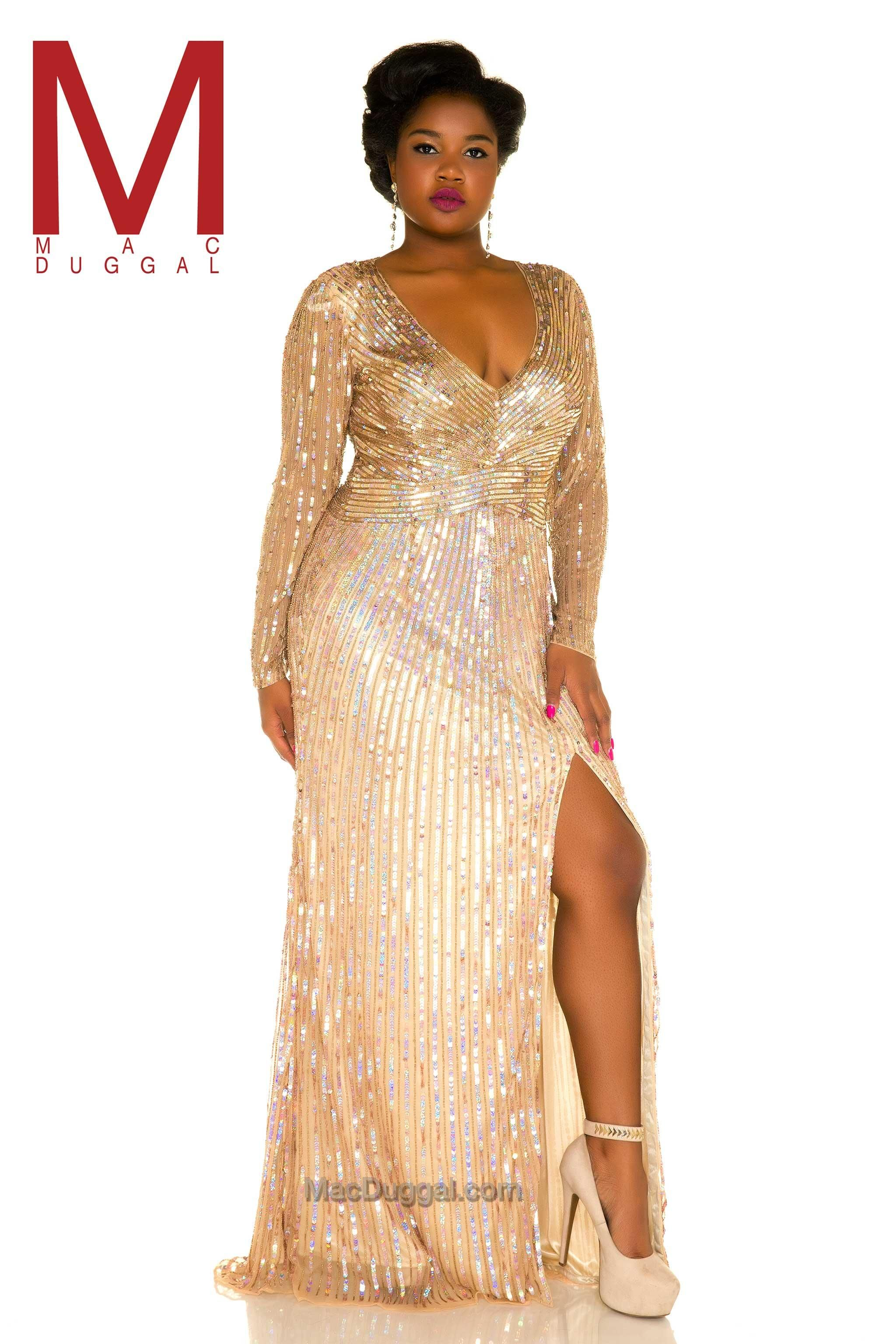 It\'s all about the glamorous sparkle for this plus size prom gown ...