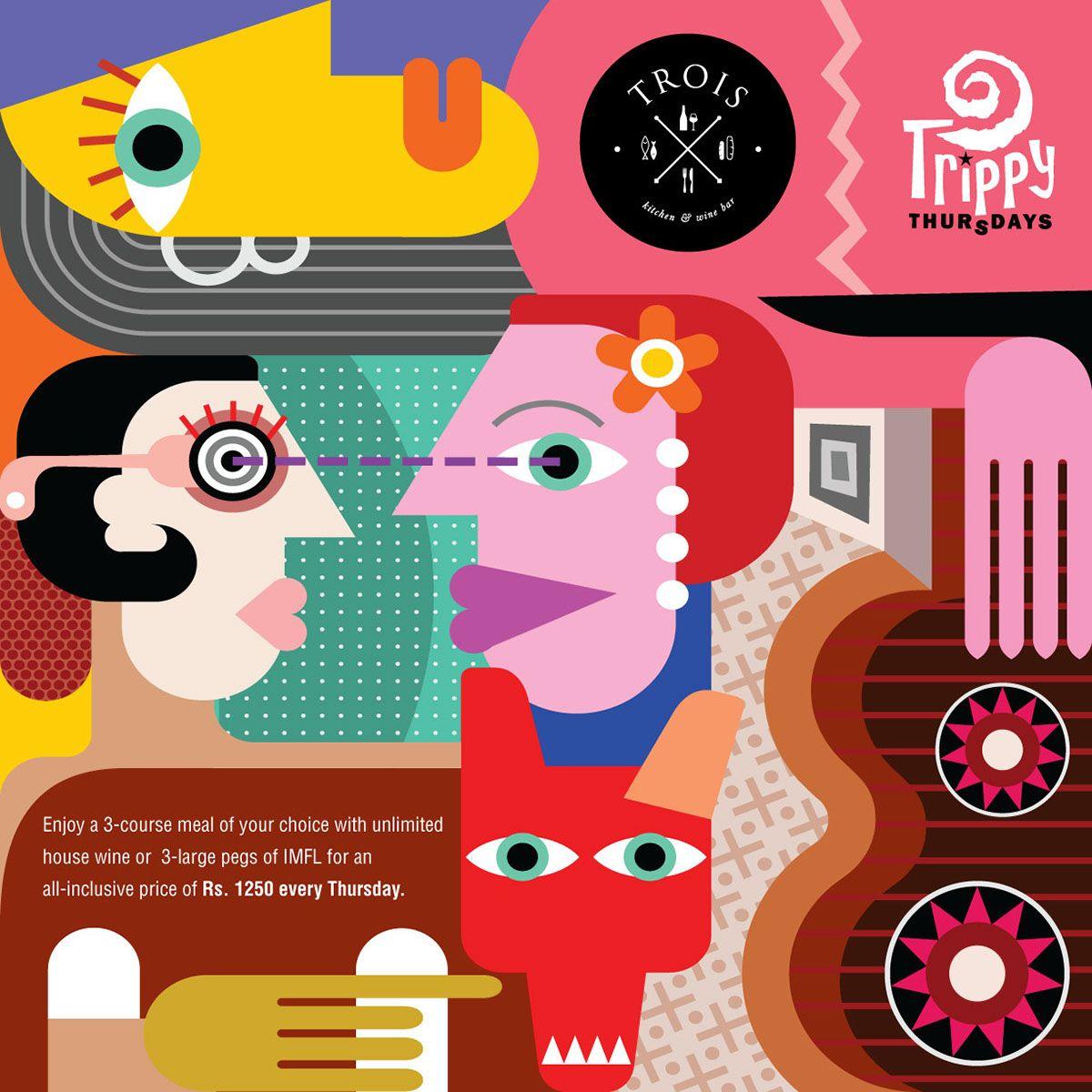 Trois Trippy Thursday On Behance Illustration Free Vector Art Creative Market