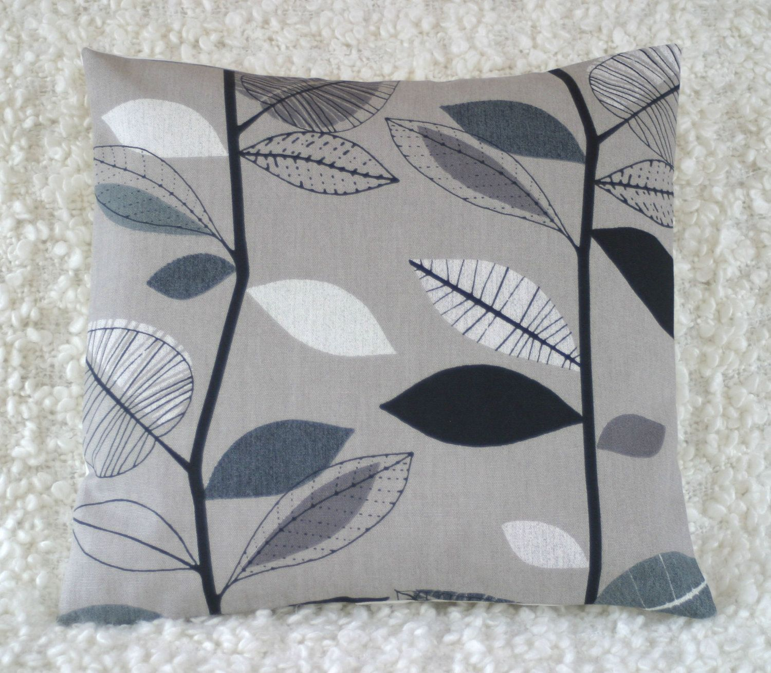 Graphic leaves charcoal grey retro pillow cushion cover sale