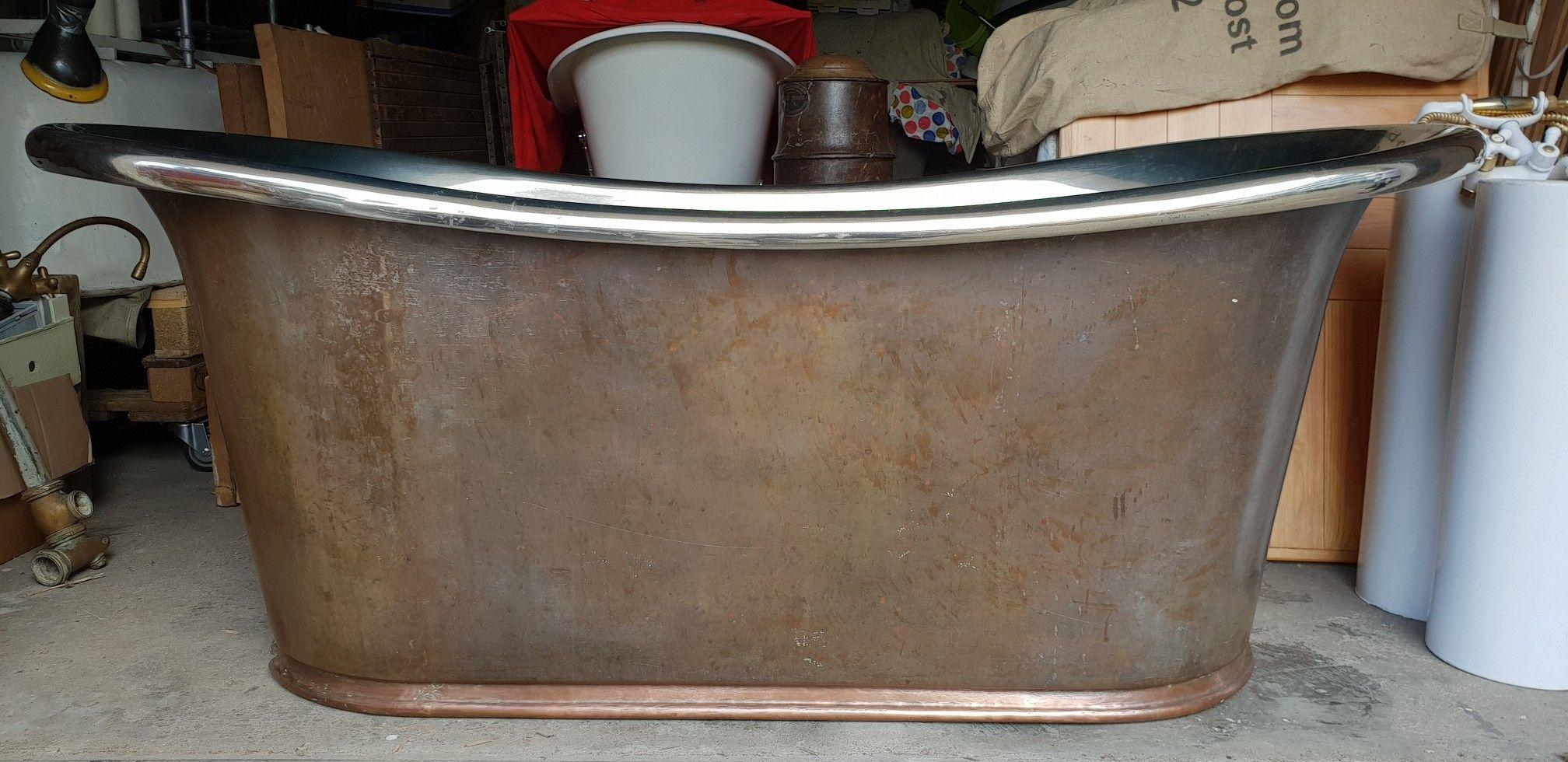 French copper bath tub with nickel inside. Length 1,86m width 0,82m ...