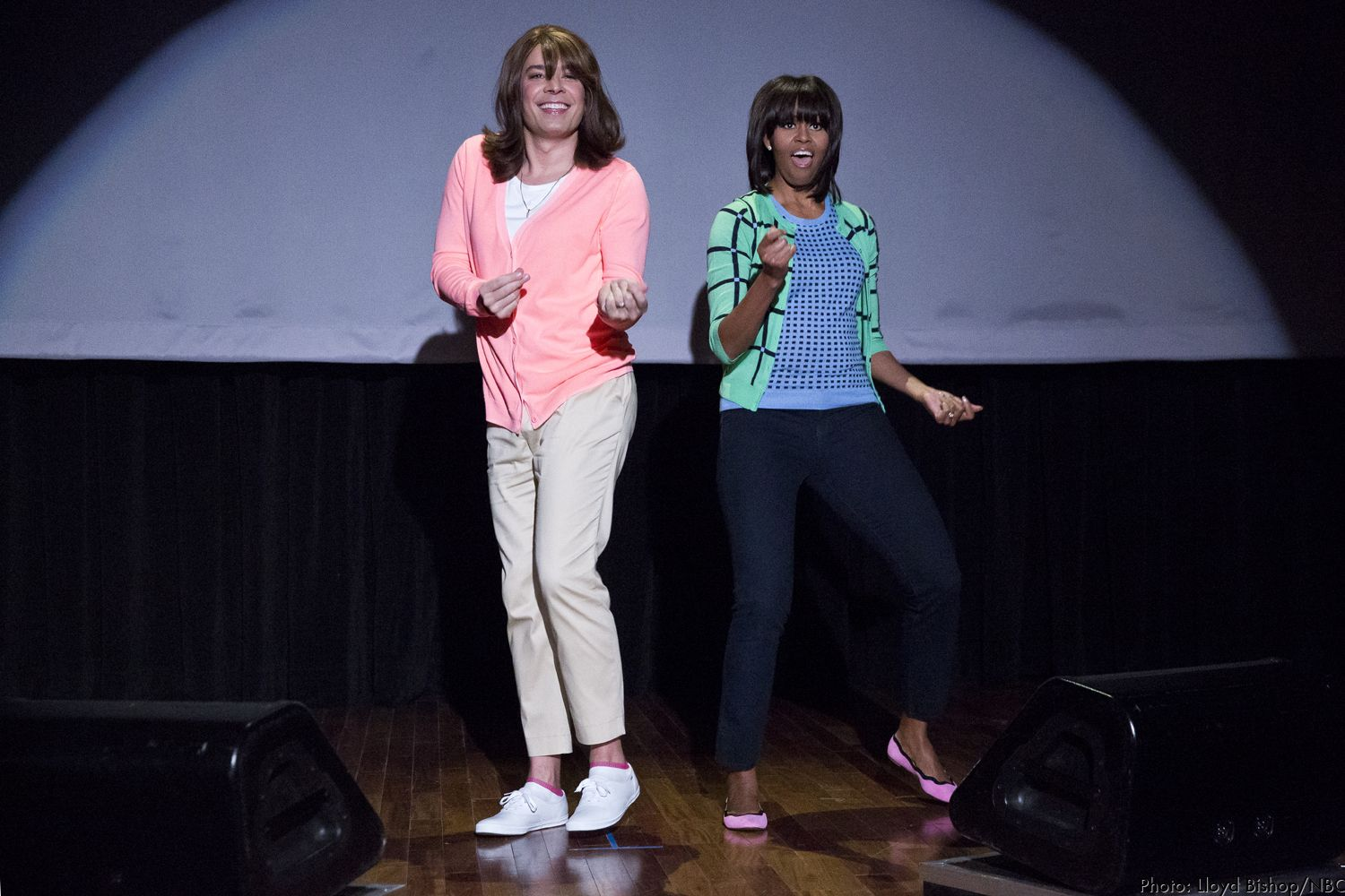 Jimmy Fallon And Michelle Obama During The Evolution Of Mom