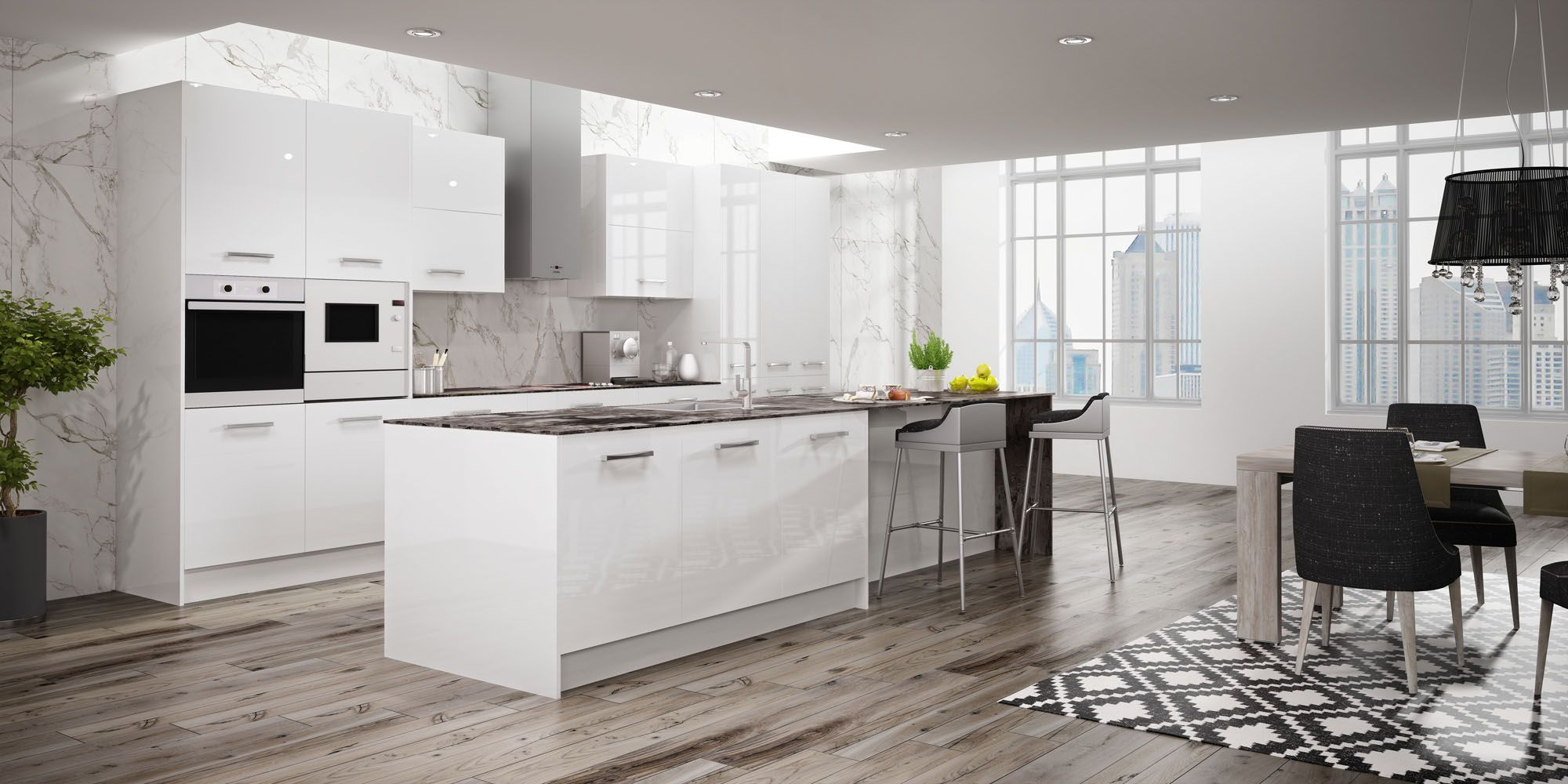 Cocinas modernas blancas con isla cocinas faro by alvic for Cocinas integrales con isla