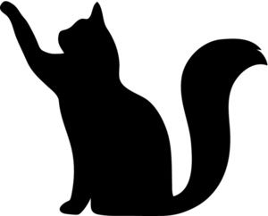 free cat silhouette clip art image clip art silhouette of a cat rh pinterest com Cat Clip Art Black and White free cat clip art images drinking mild