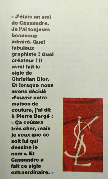 Le sigle Yves Saint Laurent x Cassandre Histoire de la mode