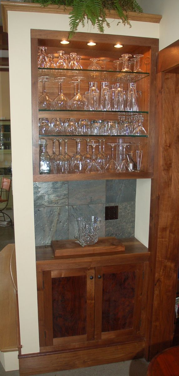 Custom Claro Walnut Built In Bar And Cabinet  Something Similar To This!  Description