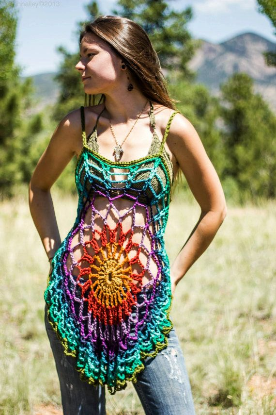 Crochet mandala tunic /dress / swimsuit coverup | Badeanzug, Tuniken ...