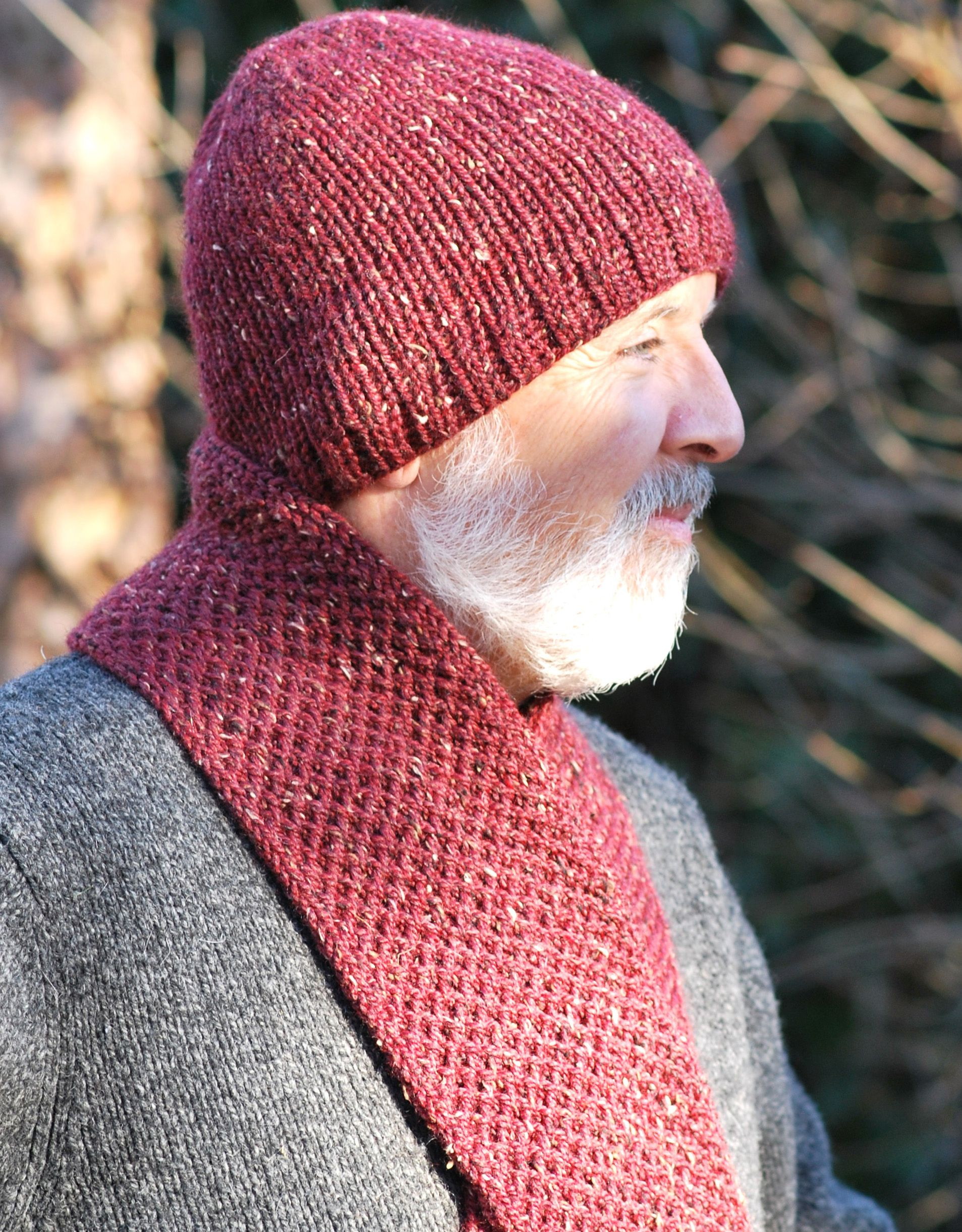 Men\'s Double Knit Hat & Scarf Combo - loom knitting - free pattern ...