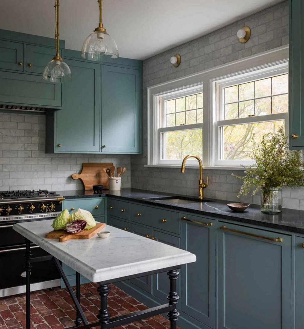 Pin By Christina Penkala On Kitchen In 2020 Black Marble Countertops Green Kitchen Cabinets Kitchen Cabinet Colors