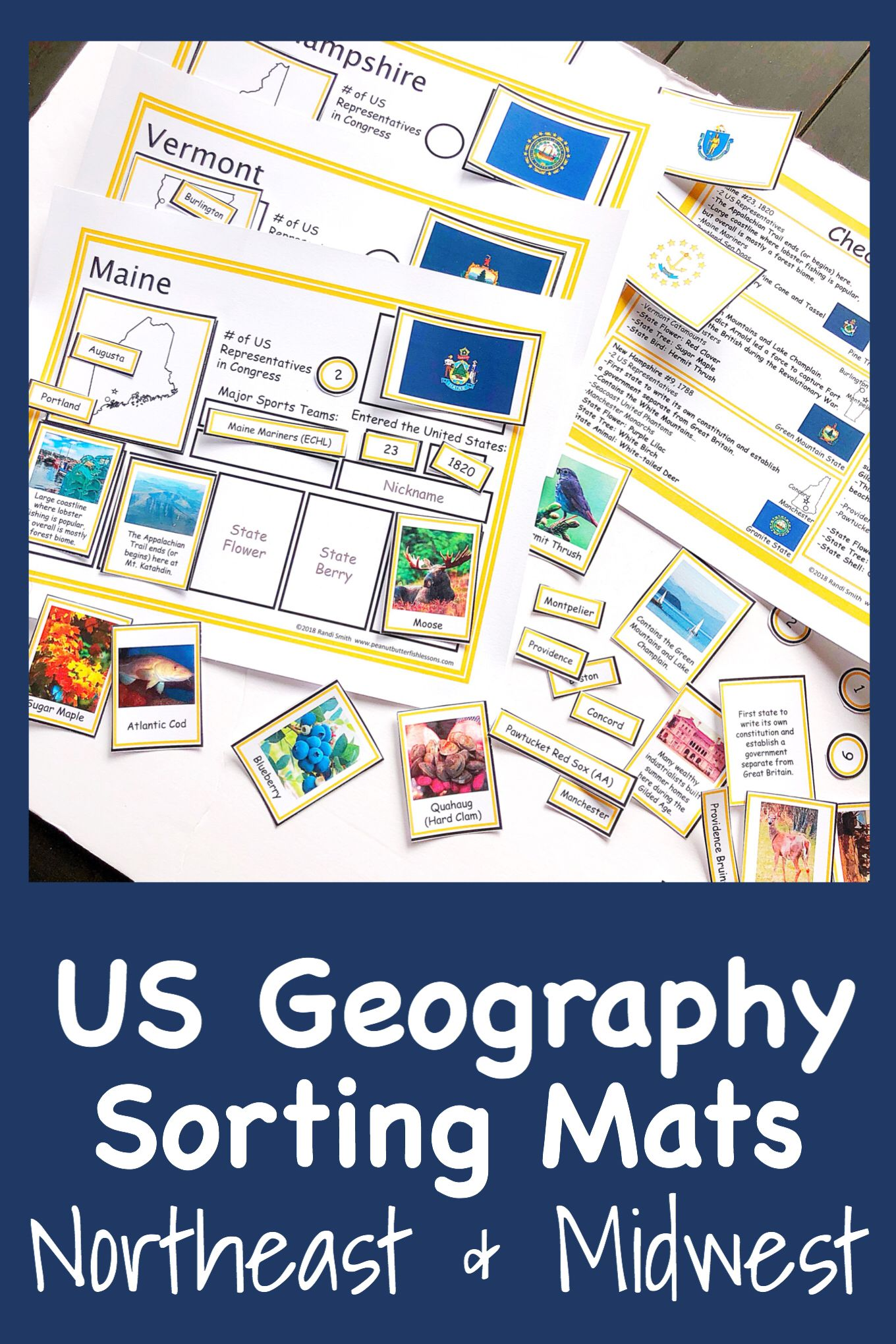 Us Geography Sorting Mats Northeastern And Midwestern